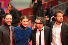 `Museum` Museo premiere during Berlinale 2018. Berlin, Germany - February 24, 2018: Bernardo Velasco, Ilse Salas, Alonso Ruizpalacios and Leonardo Ortizgris Stock Images