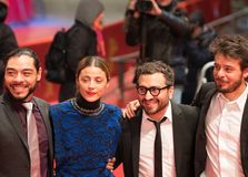 `Museum` Museo premiere during Berlinale 2018. Berlin, Germany - February 24, 2018: Bernardo Velasco, Ilse Salas, Alonso Ruizpalacios and Leonardo Ortizgris Stock Photography