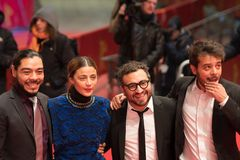 `Museum` Museo premiere during Berlinale 2018. Berlin, Germany - February 24, 2018: Bernardo Velasco, Ilse Salas, Alonso Ruizpalacios and Leonardo Ortizgris Stock Photos