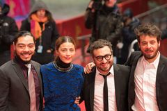 `Museum` Museo premiere during Berlinale 2018. Berlin, Germany - February 24, 2018: Bernardo Velasco, Ilse Salas, Alonso Ruizpalacios and Leonardo Ortizgris Royalty Free Stock Image