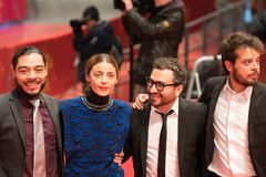 `Museum` Museo premiere during Berlinale 2018. Berlin, Germany - February 24, 2018: Bernardo Velasco, Ilse Salas, Alonso Ruizpalacios and Leonardo Ortizgris Stock Image