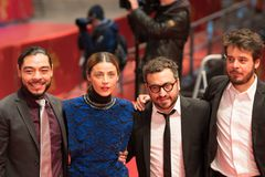 `Museum` Museo premiere during Berlinale 2018. Berlin, Germany - February 24, 2018: Bernardo Velasco, Ilse Salas, Alonso Ruizpalacios and Leonardo Ortizgris Royalty Free Stock Images