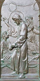 BERLIN, GERMANY, FEBRUARY - 14, 2017: The bronze relief The Raising of Jairus Daughter on the gate of Dom Royalty Free Stock Images