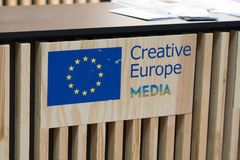 Creative Europe MEDIA logo. Berlin, Germany - February 22, 2018: Creative Europe MEDIA at Berlinale`s EFM European Film Market, one of the most important Stock Photos