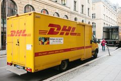 Berlin, Germany 15 February 2018: DHL and German international company or leader of the world logistic market. Courier royalty free stock images