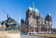 BERLIN, GERMANY, FEBRUARY - 13, 2017: The Dom and the bronze sculpture Amazone zu Pferde in front of Altes Museum. By August Kiss 1842 Stock Image