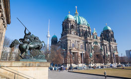 BERLIN, GERMANY, FEBRUARY - 13, 2017: The Dom and the bronze sculpture Amazone zu Pferde in front of Altes Museum. By August Kiss 1842 Stock Photo