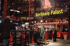Berlinale Palast exterior during the 68th Berlinale Film Festival. Berlin, Germany - February 22, 2018: Facade of the Berlinale Palast in Berlin or the Theater Royalty Free Stock Photography