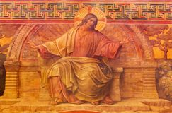 BERLIN, GERMANY, FEBRUARY - 14, 2017: The Fresco of Jesus in Herz Jesus church by Friedrich Stummel and Karl Wenzel. From end of 19. and beginn of 20. cent royalty free stock photography