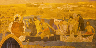 BERLIN, GERMANY, FEBRUARY - 16, 2017: The fresco of Miracle Fishing in St. Pauls evengelical church. By workroom Gathemann Stock Photography