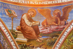 BERLIN, GERMANY, FEBRUARY - 15, 2017: The fresco of St. Luke the Evangelist in cupola of Rosenkranz Basilica. By Friedrich Stummels, Karl Wenzel, and Theodor stock photography