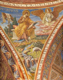 BERLIN, GERMANY, FEBRUARY - 15, 2017: The fresco of St. Matthew the Evangelist in cupola of Rosenkranz Basilica Stock Photo