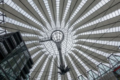 Sony center roof. Berlin, Germany - February 7, 2017: Futuristic looking Sony Center building by Potsdammer Platz Royalty Free Stock Image