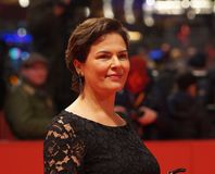 Barbara Auer at Berlinale 2018. Berlin, Germany - February 17, 2018: German actress Barbara Auer attends the premiere of the film ´Transit´during the 68th Royalty Free Stock Photos