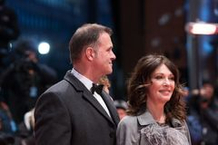 Iris Berben and her partner Heiko Kiesow during 68th Berlinale 2018 stock image