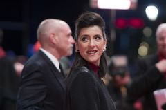 Cintia Gil during the 68th Berlinale 2018. Berlin, Germany - February 24, 2018: Glashuette Documentary Award Jury member Cintia Gil attends the closing ceremony stock image