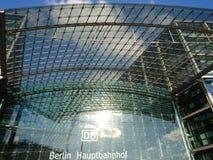 Berlin DB Deutsche Bahn Hauptbahnhof. Berlin, Germany - February 3, 2018: Glass facade of the DB Deutsche Bahn Hauptbahnhof, the main railway station, the Royalty Free Stock Photos