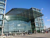 Berlin DB Deutsche Bahn Hauptbahnhof. Berlin, Germany - February 3, 2018: Glass facade of the DB Deutsche Bahn Hauptbahnhof, the main railway station, the Royalty Free Stock Photography