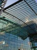 Berlin DB Deutsche Bahn Hauptbahnhof. Berlin, Germany - February 3, 2018: Glass facade of the DB Deutsche Bahn Hauptbahnhof, the main railway station, the Royalty Free Stock Image