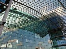 Berlin DB Deutsche Bahn Hauptbahnhof. Berlin, Germany - February 3, 2018: Glass facade of the DB Deutsche Bahn Hauptbahnhof, the main railway station, the Royalty Free Stock Photo