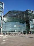 Berlin DB Deutsche Bahn Hauptbahnhof. Berlin, Germany - February 3, 2018: Glass facade of the DB Deutsche Bahn Hauptbahnhof, the main railway station, the Stock Images