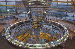 BERLIN, GERMANY, FEBRUARY - 13, 2017: The interion of cupola of Reichstag building at dusk Stock Photography