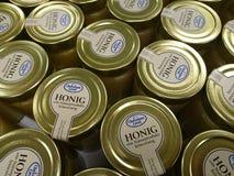 Jars of Christians Grod honey. Berlin, Germany - February 3, 2018: Jars of Christians Grod Honig, German for honey Stock Image