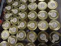 Jars of Christians Grod honey. Berlin, Germany - February 3, 2018: Jars of Christians Grod Honig, German for honey Stock Photo