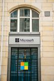 Berlin, Germany 15 February 2018: Microsoft Corporation or MS. Operating room of Windows system or multinational company. On production of software for computer Stock Photography