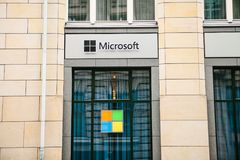 Berlin, Germany 15 February 2018: Microsoft Corporation or MS. Operating room of Windows system or multinational company. On production of software for computer Royalty Free Stock Photo