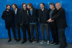 `Don`t Worry, He Won`t Get Far on Foot` photo call at Berlinale 2018. Berlin, Germany - February 20, 2018: Nicolas Lhermitte, Mourad Belkeddar, Charles-Marie Stock Photos
