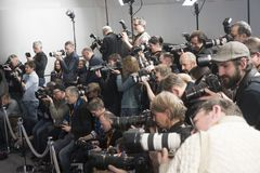 Photographers at work during the 68th Berlinale royalty free stock photos