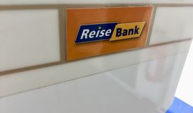 ReiseBank logo. Berlin, Germany - February 2, 2018: ReiseBank logo. ReiseBank AG provides financial products and services focusing on travel and currency Stock Photo