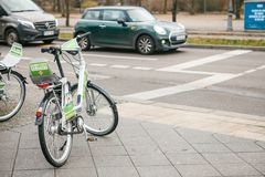 Berlin, Germany 15 February 2018: Rent a Bicycle to move around the city. An eco-friendly and popular means of. Transportation in the city for locals and Royalty Free Stock Photography