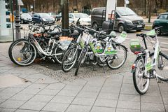 Berlin, Germany 15 February 2018: Rent a Bicycle to move around the city. An eco-friendly and popular means of. Transportation in the city for locals and Stock Photo