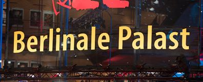 Sign of the Berlinale Palast in Berlin. Berlin, Germany - February 16, 2018: Sign of the Berlinale Palast in Berlin or the Theater am Potsdamer Platz, the main Stock Photos