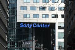 Sony Center entrance. Berlin, Germany - February 15, 2018: Sony Center, JAHN designed Sony-sponsored building complex located at Potsdamer Platz in Berlin. It Stock Images