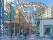 BERLIN, GERMANY, FEBRUARY - 15, 2017: The Sony center in morning. The centre was designed by Helmut Jahn and Peter Walker as landscape architect and stock images