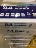 Stack of A4 paper packages. Berlin, Germany - February 7, 2018: Stationery Supplies: stack of A4 paper packages Royalty Free Stock Photography