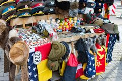 Street stall with souvenirs and socialist memorabilia from East Germany DDR