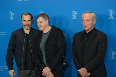 Joaquin Phoenix, Gus Van Sant and Udo Kier during Berlinale 2018 royalty free stock photography