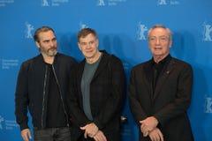 Joaquin Phoenix, Gus Van Sant and Udo Kier during Berlinale 2018 stock image