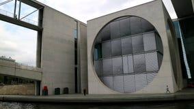 Berlin Germany_Federal Chancellery_round fönster arkivfoton