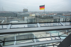 BERLIN, GERMANY -  Interior of the modern dome on the roof of the Reichstag. Stock Photo