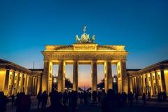 Brandenburg gate during winter evening stock photos