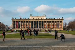 """Altes Museum"""" german for Old Museum on Museum Island in Berlin. Berlin, Germany - january 2019 : The front facade of the """"Altes Museum"""" german royalty free stock photos"""
