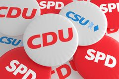 German Politics Coalition Concept: Pile of Buttons With The Logo of The Political Parties CDU, CSU, SPD, 3d illustration. BERLIN, GERMANY - JANUARY 29, 2017 royalty free illustration