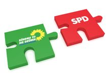 German Politics Coalition Formation Concept: Puzzle Pieces The Greens And SPD, 3d illustration on white background. BERLIN, GERMANY - JANUARY 30, 2017: German royalty free illustration