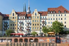 BERLIN, GERMANY - JULY 25:  Cityscape Berlin with unknown people sitting at terraces seen from river Spree on July 25, 2013 in Ber Stock Photography