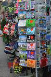 Berlin, Germany - July 2015 - postcards sold on the street. Street vendor's stall with Berlin themed postcards and other souvenirs, sold to the tourists and Royalty Free Stock Images